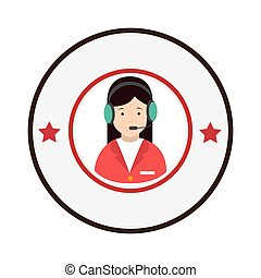 colorful circular emblem with female customer service