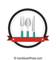 colorful circular emblem with ribbon and cutlery