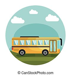 Frame With Yellow School Bus Color Illustration