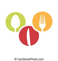 colorful circular frames with silhouettes cutlery kitchen elements
