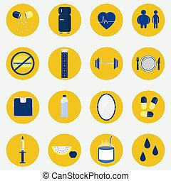 Colorful circular icons of health