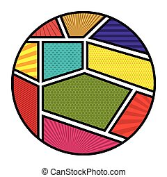 colorful circular shape in pop art