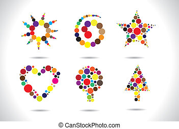 Colorful circular shapes arranged to form symbols like...