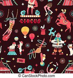 Colorful circus performers demonstrate tricks seamless pattern. Funny clown, strongman, acrobats, trained animals, trapeze artist, hooper and juggling unicyclist vector flat illustration.