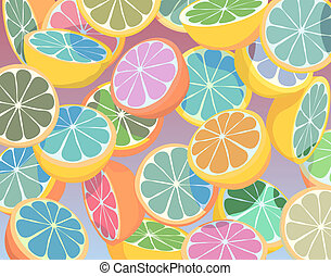 Editable vector colorful illustration of falling sliced citrus fruit