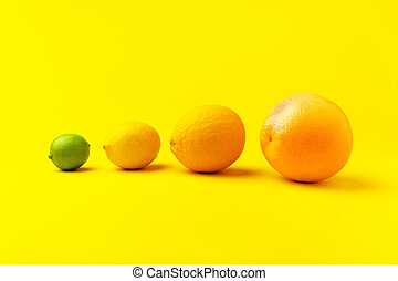 Grapefruit, orange, lemon and lime