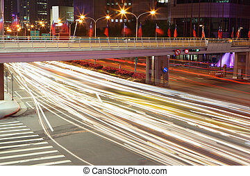city night scene with cars motion