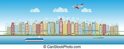 Colorful city skyline with traffic of various vehicles train airplane car ship in flat style, cityscape