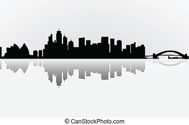 Colorful City Sydney panorama, vector