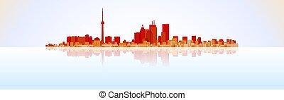 Colorful City Toronto panorama, vector