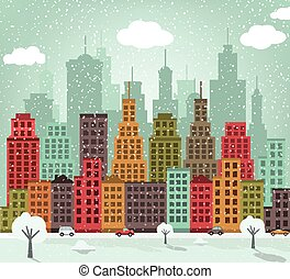Colorful city (winter)