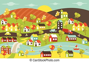 Colorful city with houses, cars, trees and river