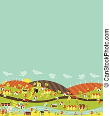 Colorful city with houses