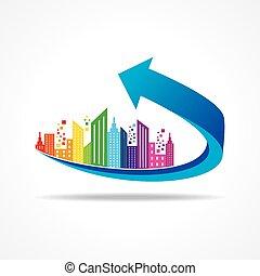 cityscape on business arrow