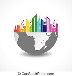 Colorful cityscape on half earth stock vector