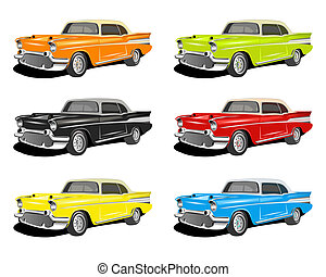 COLORFUL CLASSIC CARS - An illustration of...