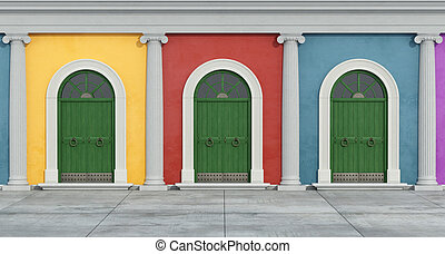 Colorful classic facade with ionic column