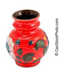 colorful clay crockery ceramic vase isolated white