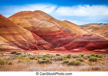 Colorful clay hills in the Painted Hills of Oregon