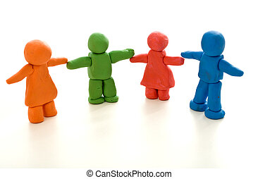 Colorful clay people - unity in diversity concept - Colorful...