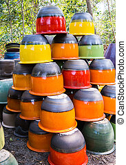 Colorful Clay Pots