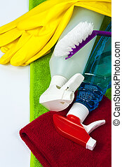 Colorful cleaning equipment isolated on white background.