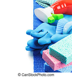 Colorful cleaning products
