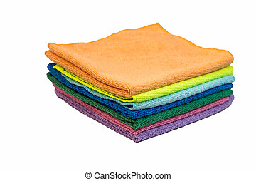 Colorful cleaning rag microfiber cloth isolated on white...