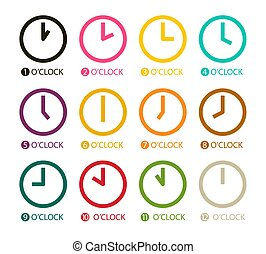 Colorful Clock Icons Set Isolated on White Background. Vector Time Symbols.
