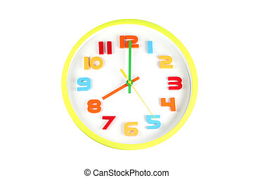 Colorful clock in telling time of eight o'clock.