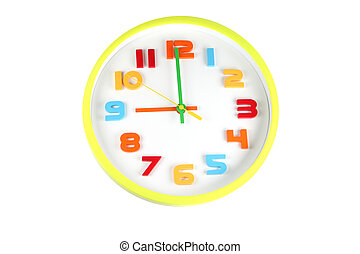 Colorful clock in telling time of nine o'clock.