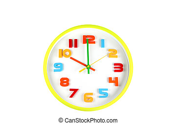 Colorful clock in telling time of ten o'clock.