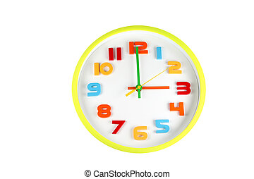 Colorful clock in telling time of three o'clock.
