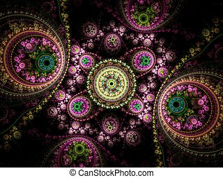 Colorful clockwork pattern, digital fractal art design