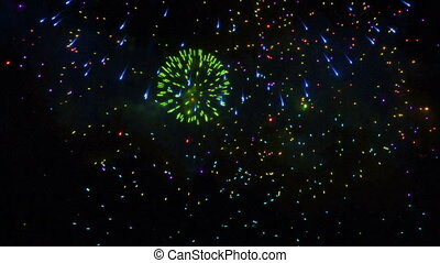 Colorful closeup holiday firework, new year eve footage -...