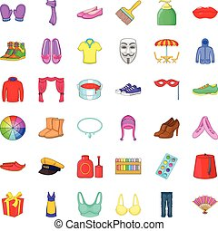 Colorful clothes icons set, cartoon style