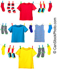 Colorful clothes o - Colorful t-shirt and socks hanging on ...