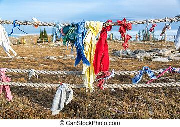 Colorful cloths at Medicine Wheel National Historic Landmark in Wyoming