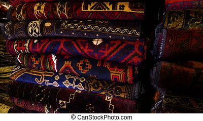 Colorful cloths in Afghanistan - A close up shot of carpets...