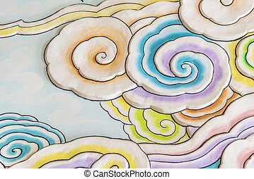 Colorful cloud art in chinese style