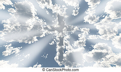 Colorful Cloud cross in sky