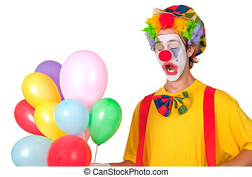 Colorful clown with balloons