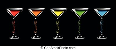 colorful cocktail party glasses set