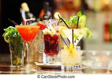 Colorful cocktails close up