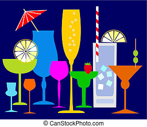Colorful glasses with some drinks and alcohol. File included Eps v8 and 300 dpi JPG