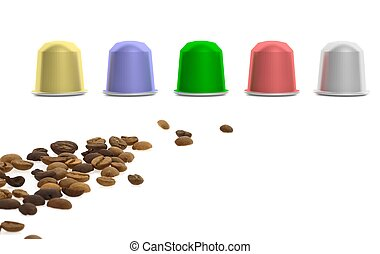 Colorful coffee capsules and coffee beans, isolated on white background.