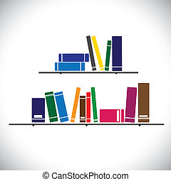 colorful collection books on a library shelf - study concept vector. The graphic contains books in different sizes and colors stacked