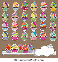 Colorful collection of cupcakes with cute patterns