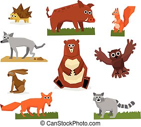 Colorful collection of funny forest animals. Fox, raccoon, hedgehog, squirrel, wolf, jackrabbit, wild boar, grizzly bear and owl. Cartoon flat vector design