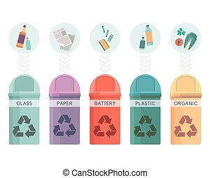 Colorful collection of garbage bins. Recycle containers set for sorted waste glass, paper, battery, plastic and organic. Five different trash can. Vector illustration